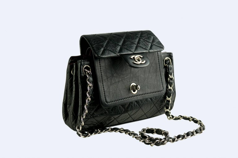 Chanel Limited Edition Distressed Calfskin Classic Double Flap Bag For Sale 1