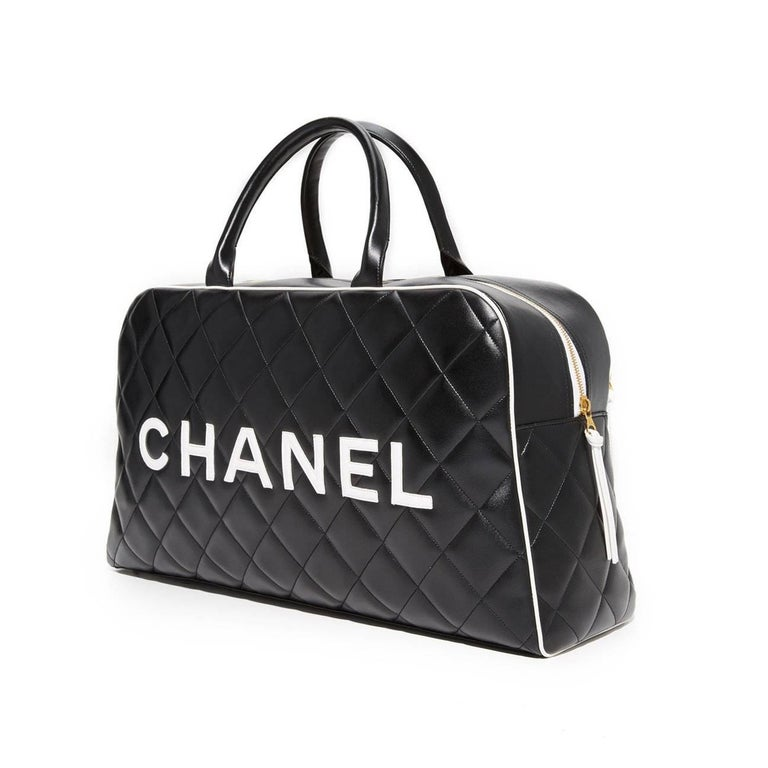 fe8263731a3d Black Chanel Logo Letters Vintage Rare 1990's Quited Duffel Bag Travel Tote  For Sale
