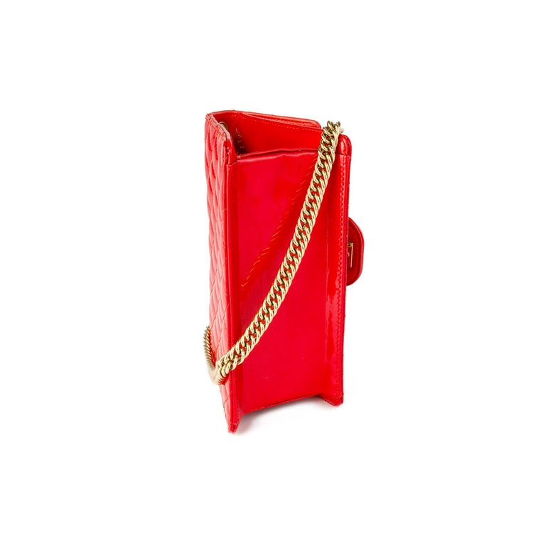 Women's Chanel Red Sparkle Patent Leather Mini Classic Flap Bag For Sale