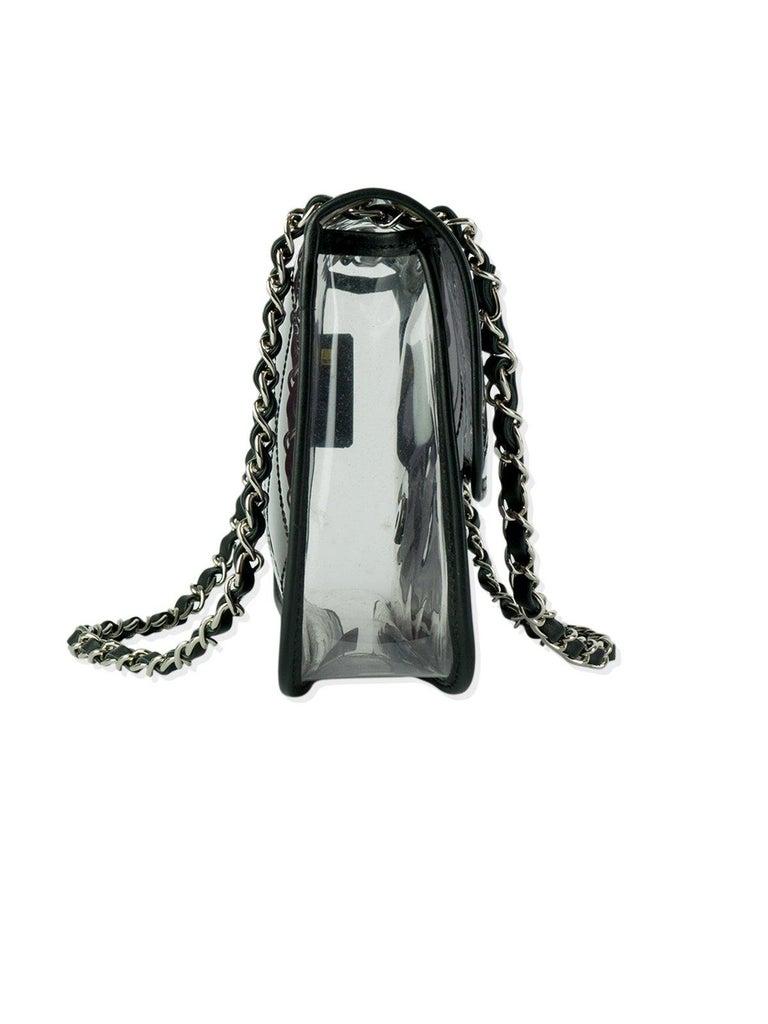 Black Chanel Transparent Clear Ombre PVC Classic Flap Bag For Sale