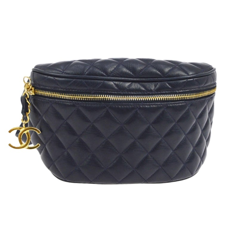 Chanel Quilted Lambskin Vintage Fanny Pack Waist Belt Bum Bag, 1990s