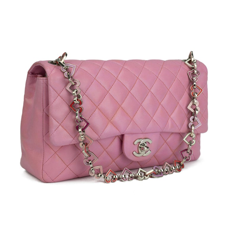 Chanel Limited Edition Valentines Rare Heart Charm Pink Classic Flap In Fair Condition For Sale In Miami, FL