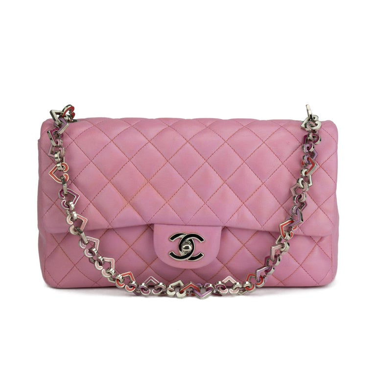 Chanel Limited Edition Valentines Rare Heart Charm Pink Classic Flap For Sale 2