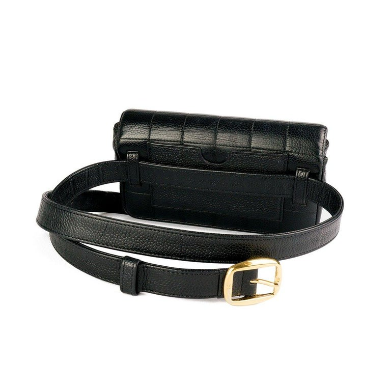 Women's or Men's Chanel Vintage Caviar Mini Classic Flap Fanny Pack Waist Belt Bum Bag  For Sale