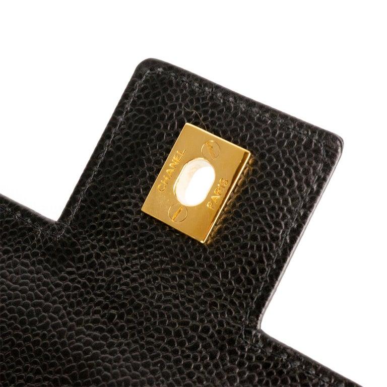 Black Chanel Rare Vintage Caviar CC Flap Executive Briefcase Portfolio Laptop Bag  For Sale