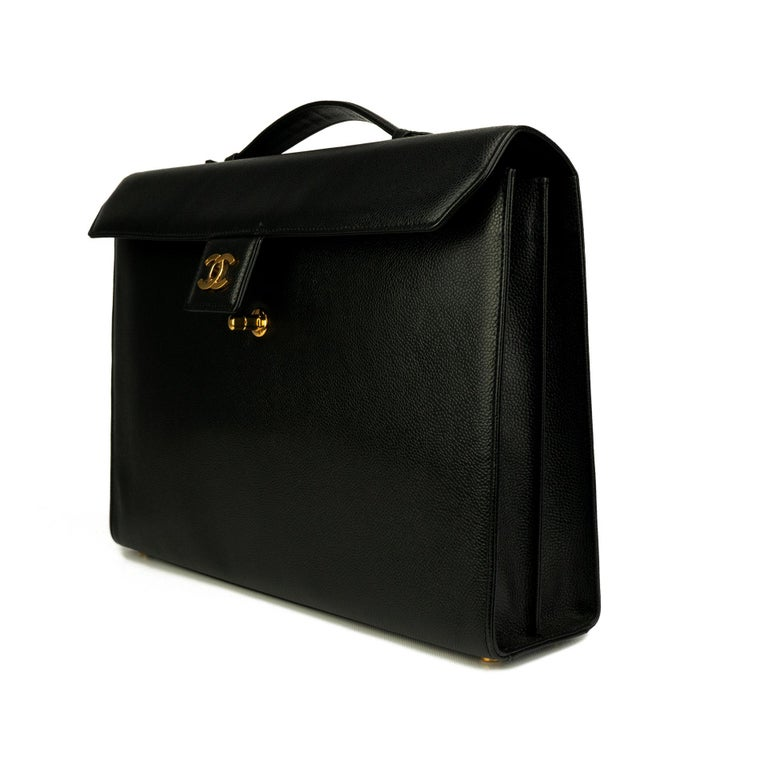 Women's or Men's Chanel Rare Vintage Caviar CC Flap Executive Briefcase Portfolio Laptop Bag  For Sale