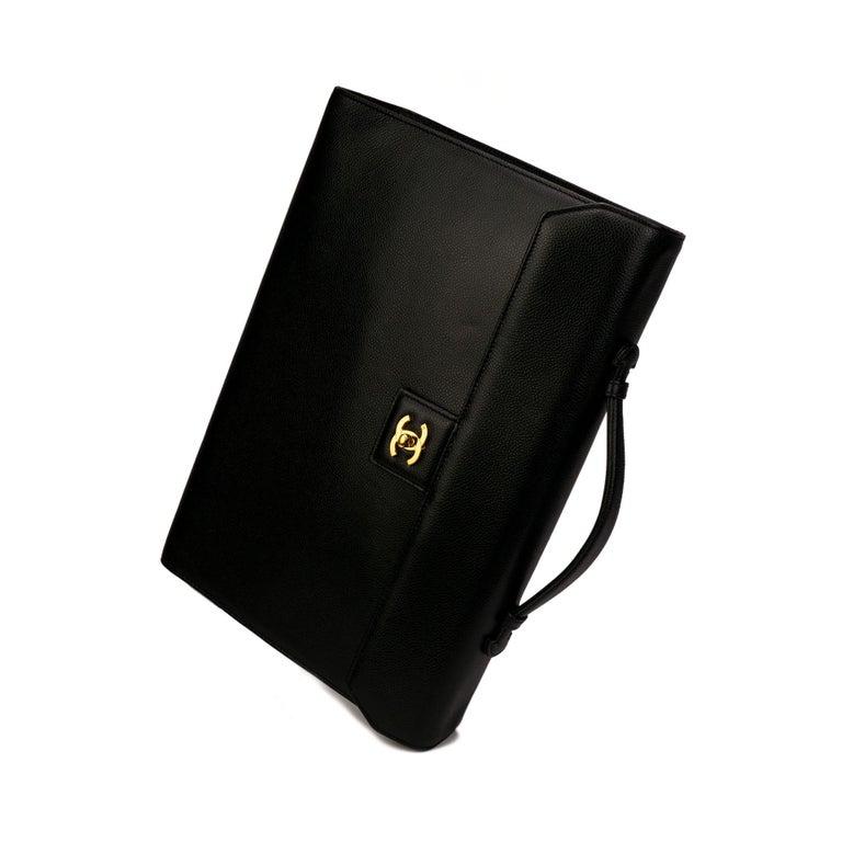 Chanel Rare Vintage Caviar CC Flap Executive Briefcase Portfolio Laptop Bag  For Sale 2