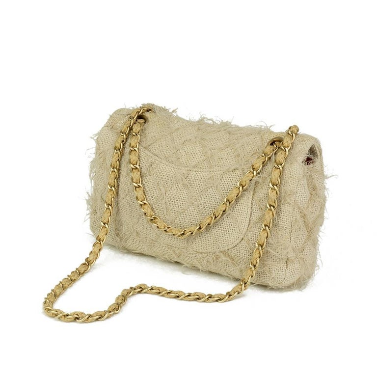 Chanel Runway 2010 Classic Flap Straw Camelia Rope Classic Flap Bag In Good Condition For Sale In Miami, FL