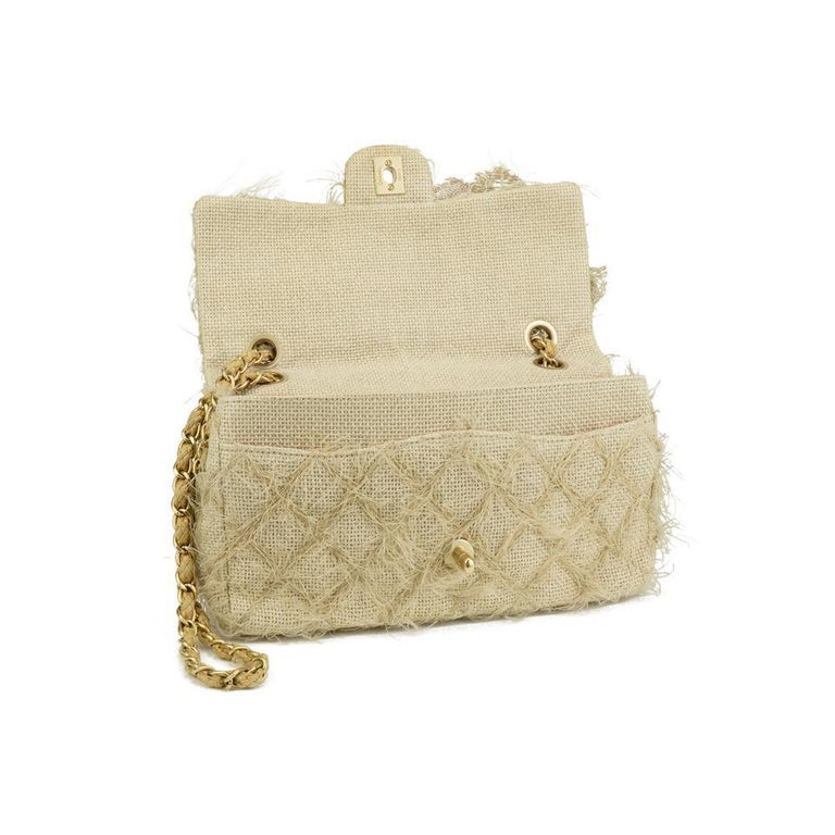 Women's Chanel Runway 2010 Classic Flap Straw Camelia Rope Classic Flap Bag For Sale