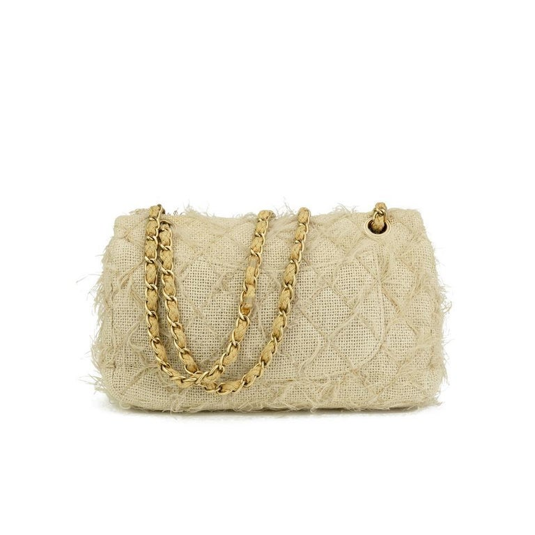 Brown Chanel Runway 2010 Classic Flap Straw Camelia Rope Classic Flap Bag For Sale