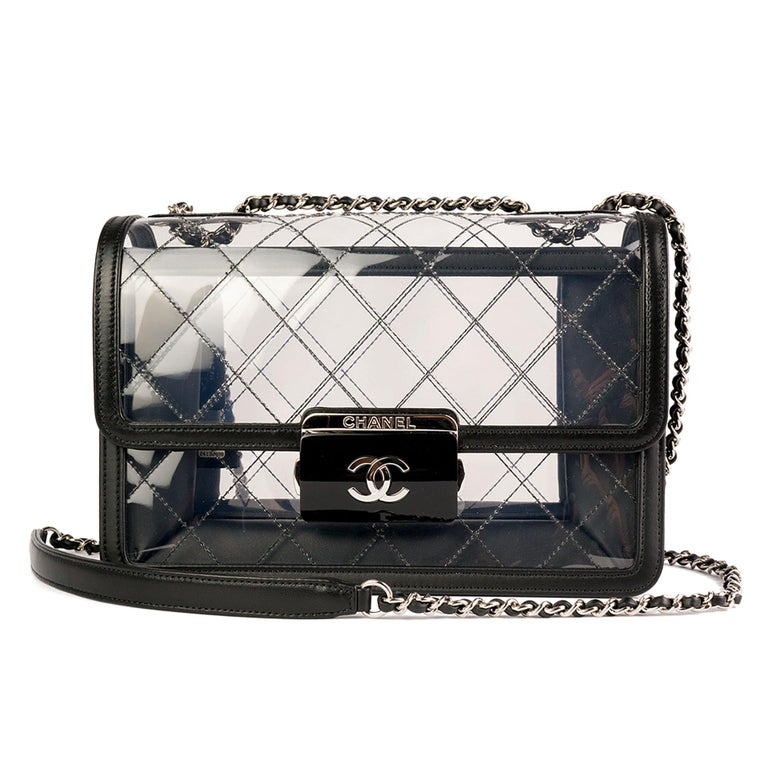 Chanel Classic Flap Naked Beauty Lock Clear Transparent PVC Crossbody Bag In Good Condition For Sale In Miami, FL