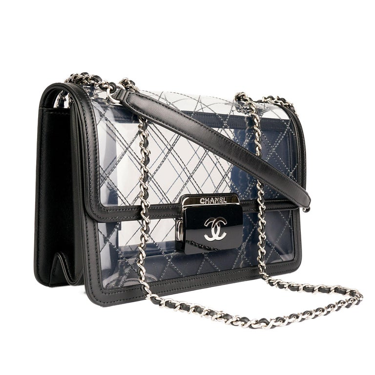 cb3cdb36d33c Black Chanel Classic Flap Naked Beauty Lock Clear Transparent PVC Crossbody  Bag For Sale