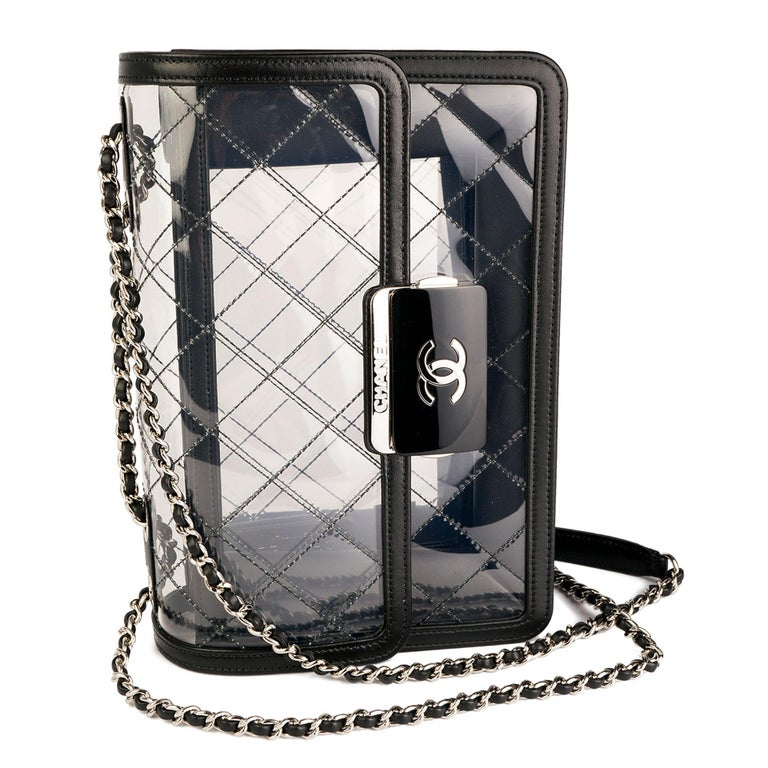 Chanel Classic Flap Naked Beauty Lock Clear Transparent PVC Crossbody Bag For Sale 2