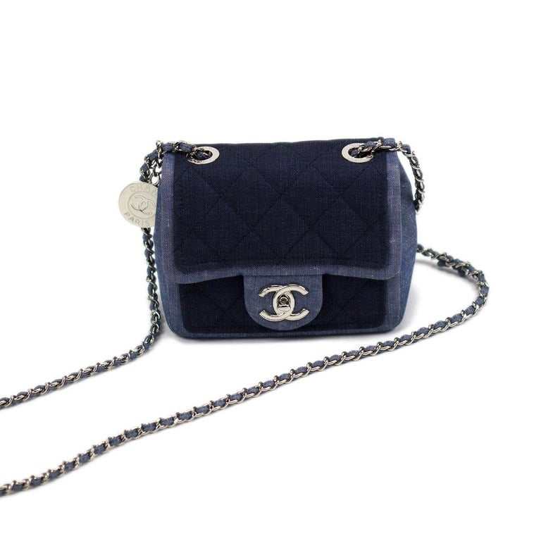 Small Denim Jean Two Tone Chanel Medallion Mini Crossbody Shoulder Classic Flap Year 2017 Interwoven