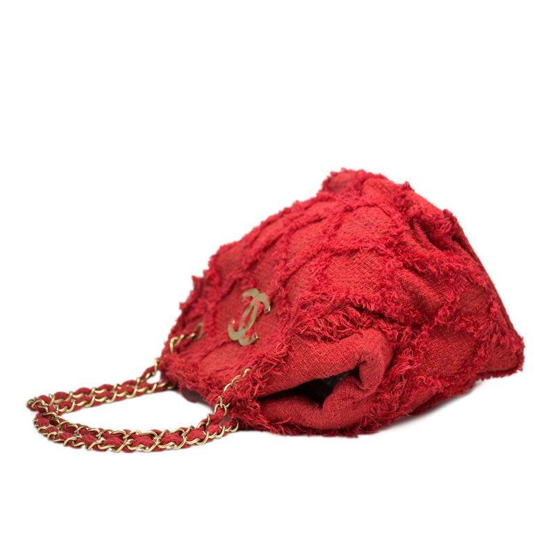 Women's Chanel Soft Woven Red Tweed Fringe Crochet Tote Beach Bag  For Sale