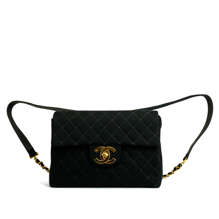 Women's Chanel Jumbo Flap Quilted Wool Leather Backpack Large VIntage CC Gold Logo  For Sale