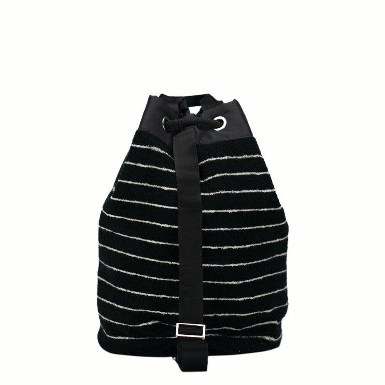 Black Chanel Dark Navy Blue Striped CC Logo Drawstring Large Beach Tote Bag Vintage For Sale