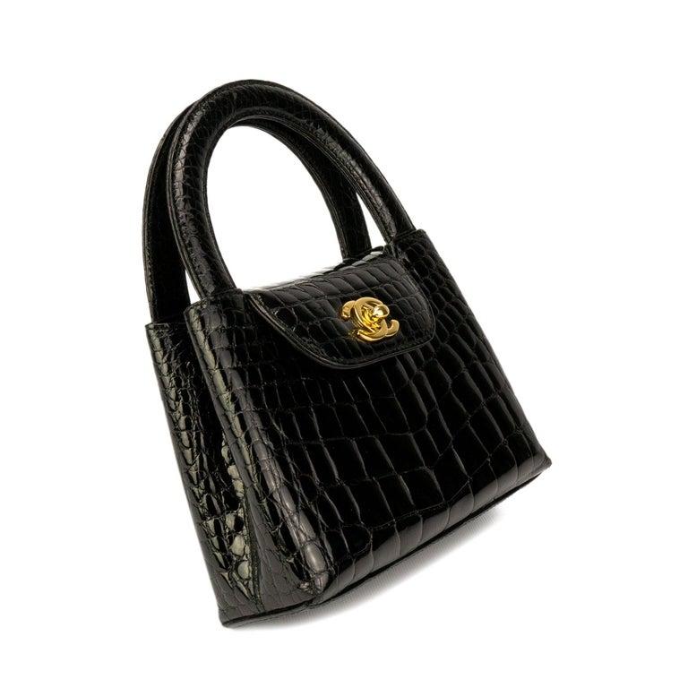 Chanel Black Crocodile Vintage Mini Teeny Tiny Kelly Clutch 22df36545b