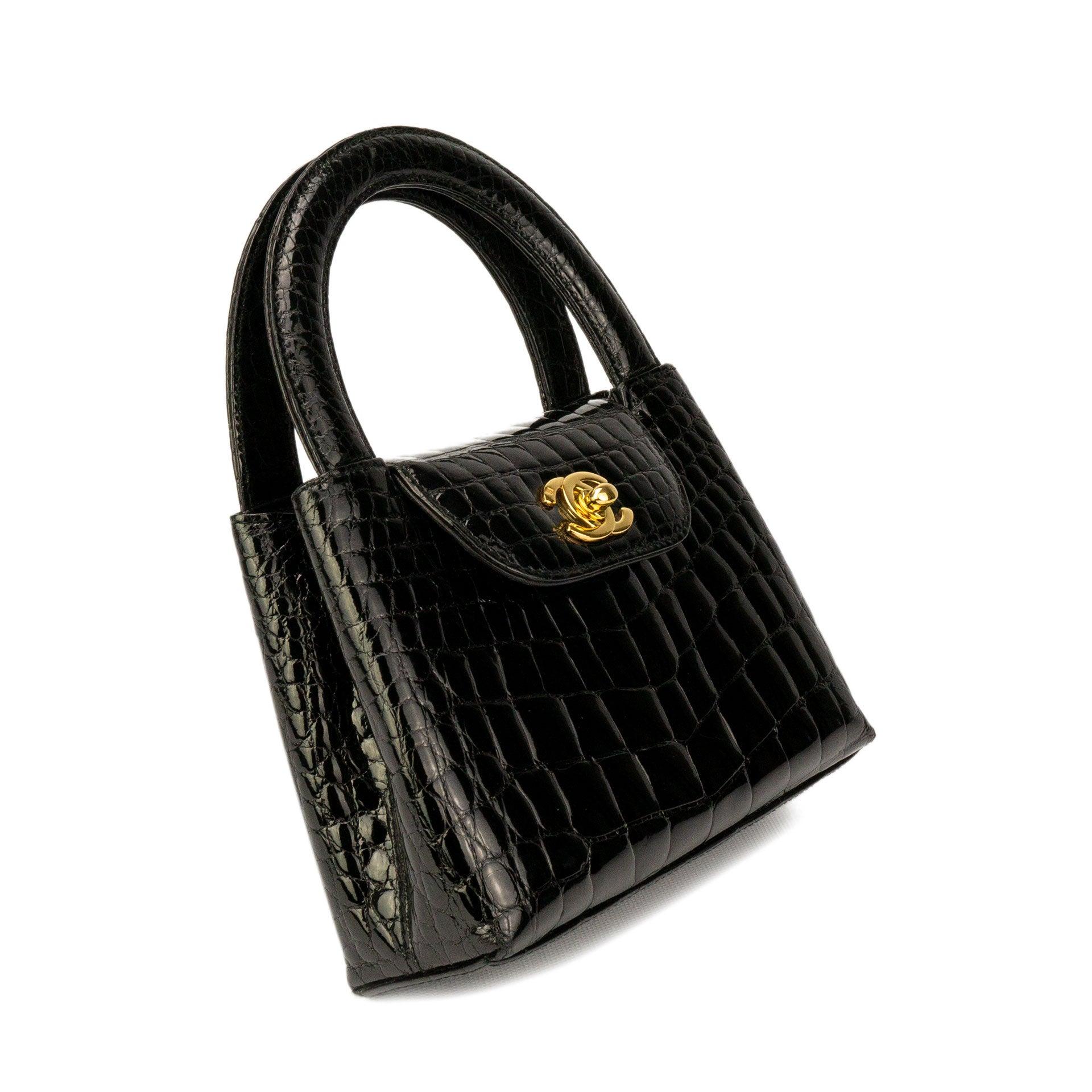 42b0f9830b32 Chanel Black Crocodile Vintage Mini Teeny Tiny Kelly Clutch Alligator Tote  Bag at 1stdibs
