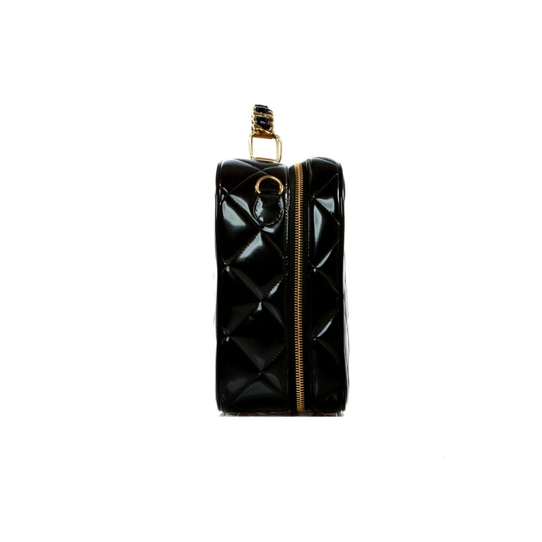 Chanel Vintage Black Quilted Patent Vanity Shoulder Crossbody Quilted Tote Bag  For Sale 1