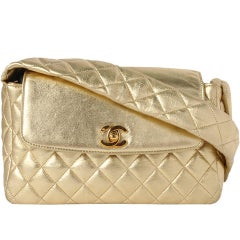 Chanel Classic Rare Limited Edition 1994 Gold Metallic Quilted Lambskin Flap Bag