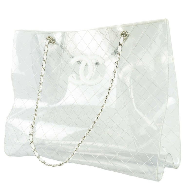 Gray Chanel Transparent and Lambskin White Naked XXXL Extra Large Clear Tote For Sale