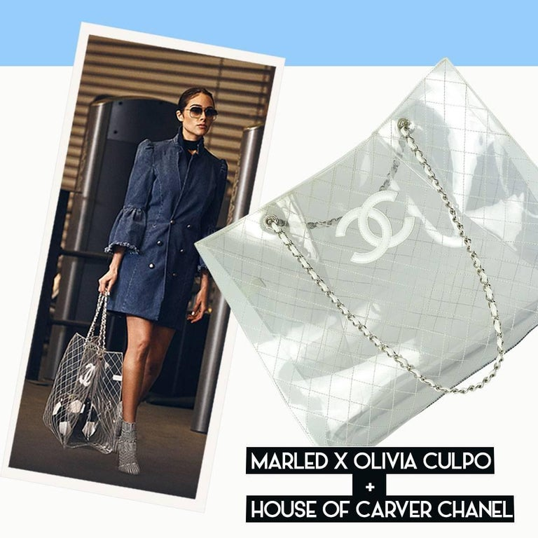 Clear transparent naked diamond stitch quilted Chanel vintage tote in an oversized XXXL featuring white lambskin leather logo and silver hardware.  Good vintage condition with minor hardware scratches.   16