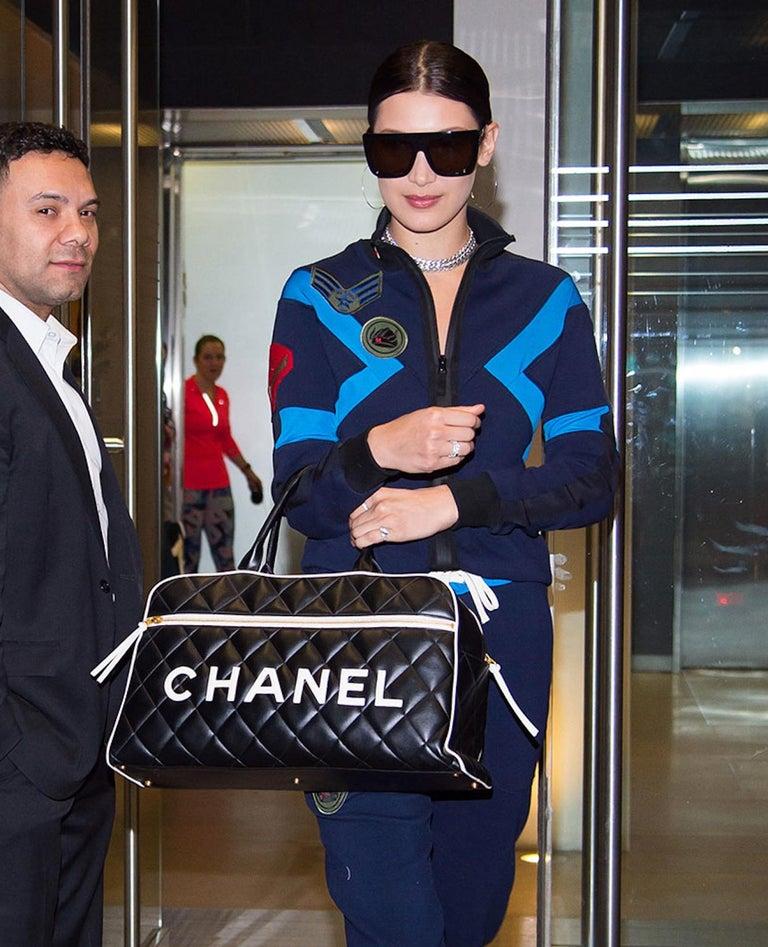 645dbdcc7d Women's Chanel Logo Letters Vintage Rare 1990's Quited Duffel Bag Travel  Tote For Sale