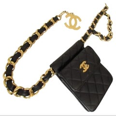 Chanel Vintage Runway Waist Fanny Pack Belt Bum Bag, 1990s