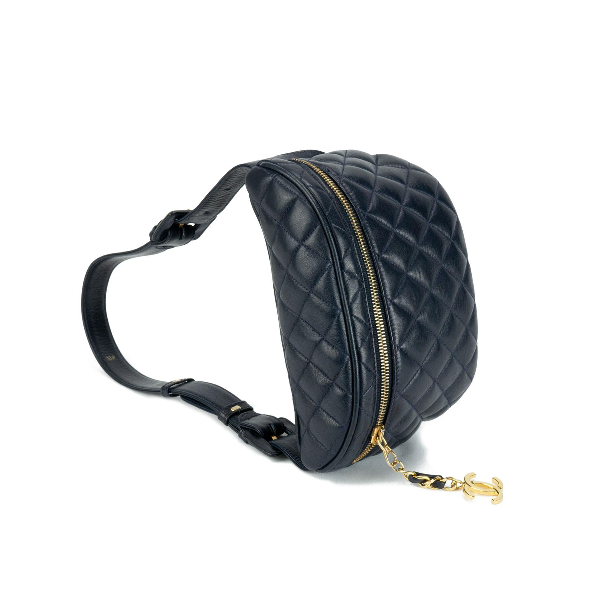 Chanel Quilted Lambskin Vintage Fanny Pack Waist Belt Bum Bag f37a5486ce271