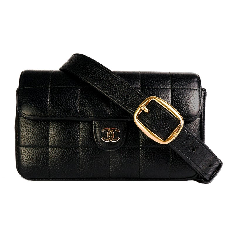 Chanel Vintage Caviar Mini Classic Flap Fanny Pack Waist Belt Bum Bag  For Sale
