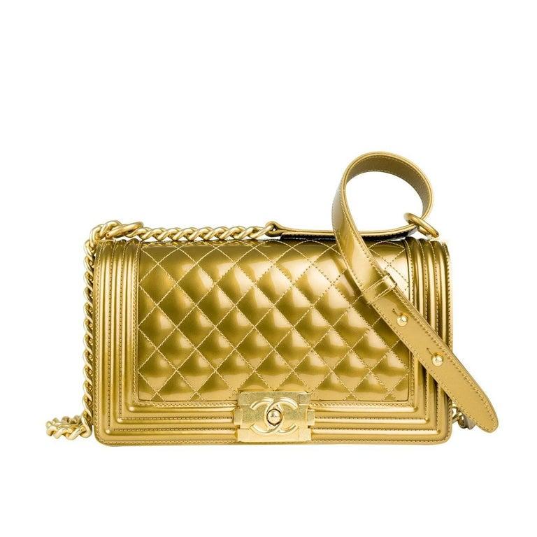 Chanel Gold Metallic Old Medium Boy Bag