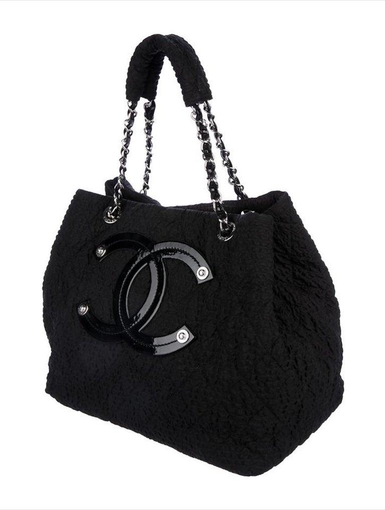 Chanel Coco Cabas Overnight Tote Black Microfiber Nylon Weekend Bag