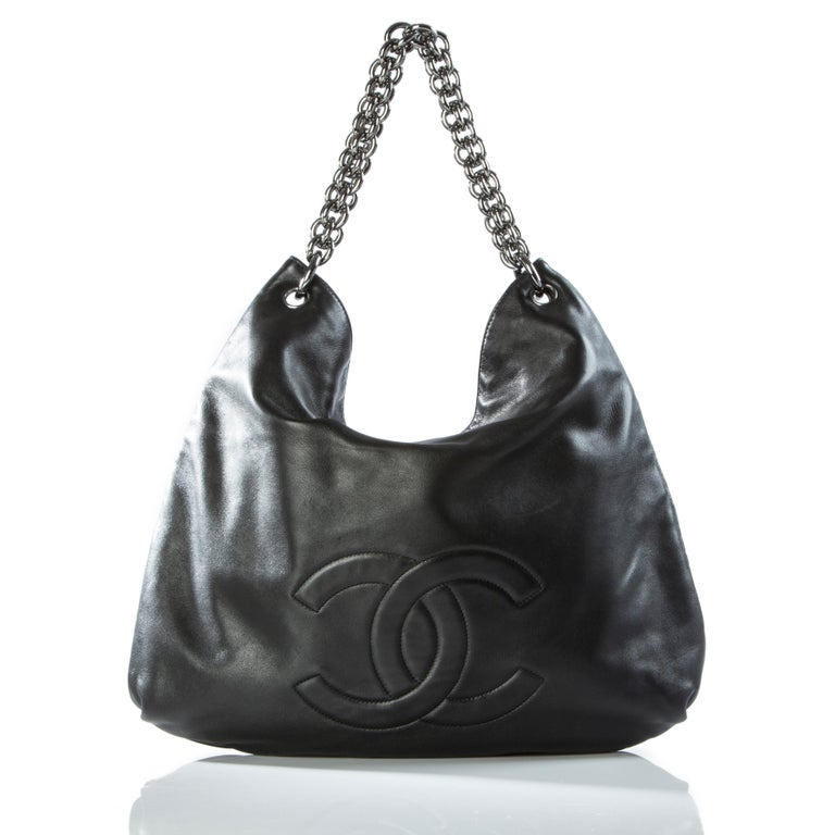 Black Chanel Modern Thick Chunky Chain Soft Lamb Hobo Slouchy Tote For Sale