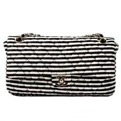 Chanel Striped Classic Flap Velour Velvet Black and White Crossbody Shoulder Bag