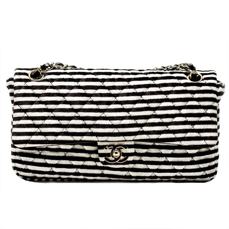 Chanel Striped Classic Flap Velour Velvet Black and White Crossbody Shoulder Bag