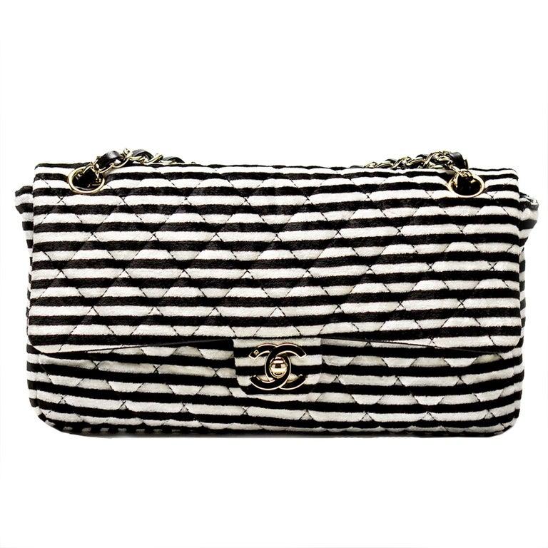 4a0582dcd759 Chanel Striped Classic Flap Velour Velvet Black and White Crossbody  Shoulder Bag For Sale