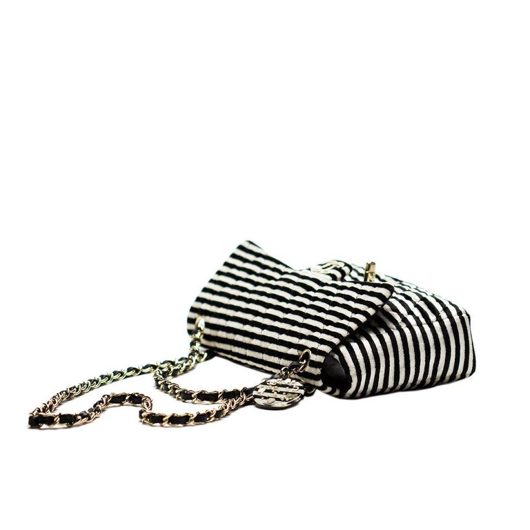 Chanel Striped Classic Flap Velour Velvet Black and White Crossbody Shoulder Bag In Good Condition For Sale In Miami, FL