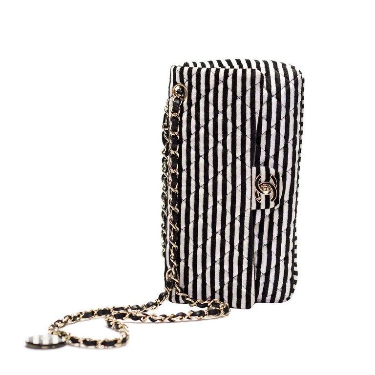 Chanel Striped Classic Flap Velour Velvet Black and White Crossbody Shoulder Bag For Sale 1