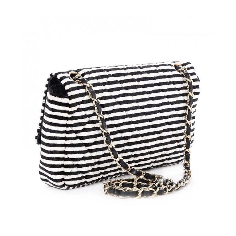 Women's Chanel Striped Classic Flap Velour Velvet Black and White Crossbody Shoulder Bag For Sale