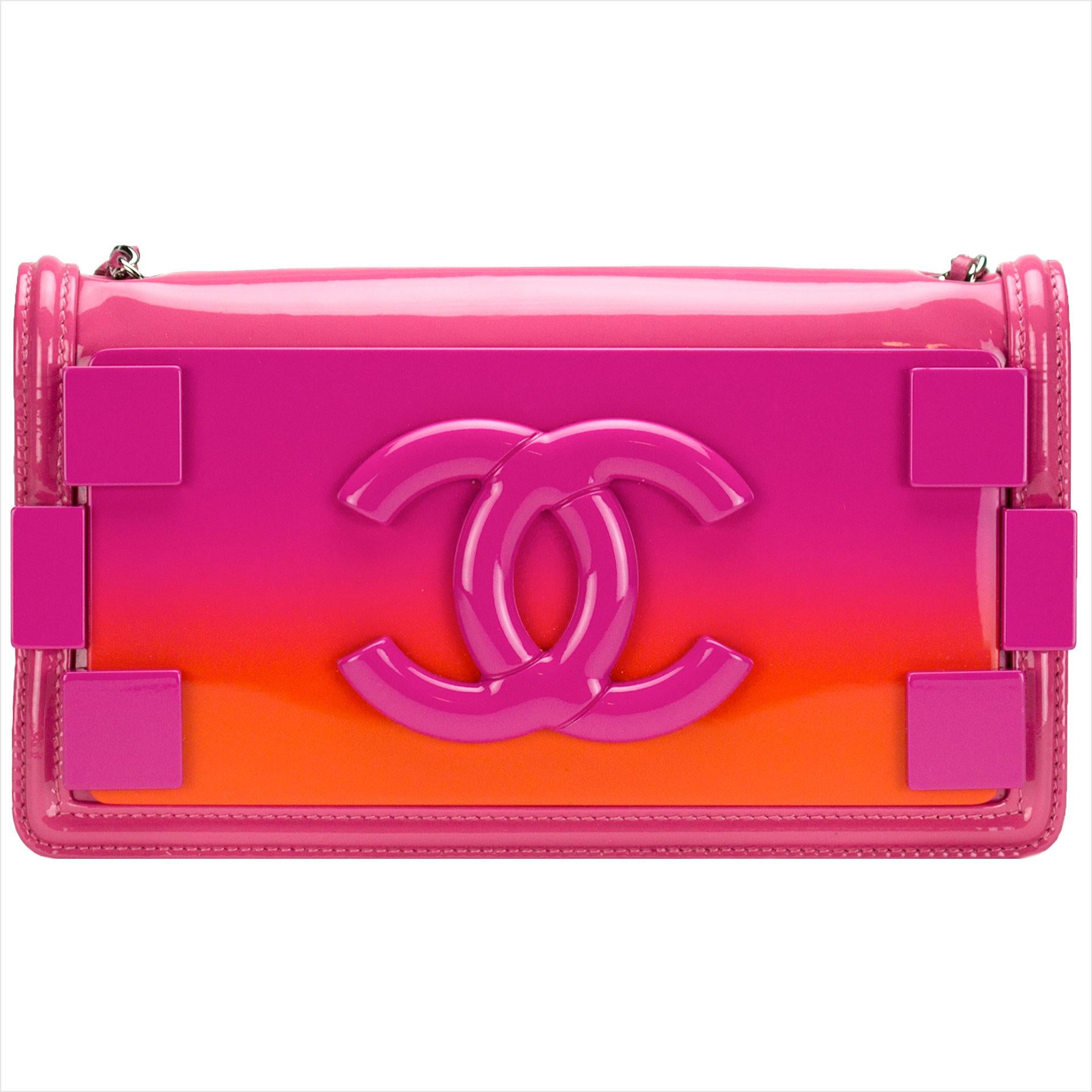 Chanel Hot Pink Ombre Patent Leather Brick Flap Crossbody Convertible Clutch