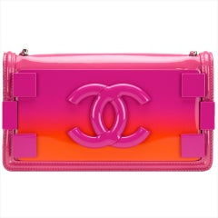 4a331459e84e Chanel Hot Pink Ombre Patent Leather Brick Flap Crossbody Convertible Clutch