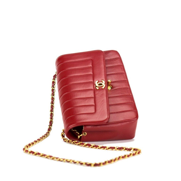 Chanel Red Lambskin Stripe Diana Medium Vintage Classic Flap Bag  For Sale 1