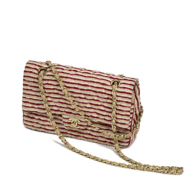Chanel Medium Classic Vintage Striped Red and Beige Double Flap Bag  In Good Condition For Sale In Miami, FL