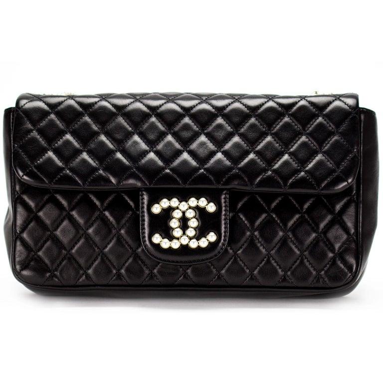 cd0749defe24 Chanel Black Lambskin Diamond Stitch Pearl Medium Classic Westminster Flap  Bag For Sale 1