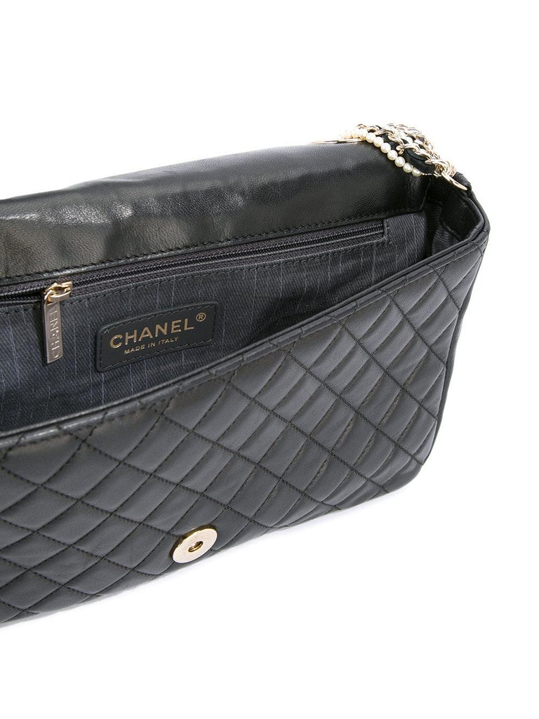 c87f36514b00 Women's or Men's Chanel Black Lambskin Diamond Stitch Pearl Medium Classic  Westminster Flap Bag For Sale