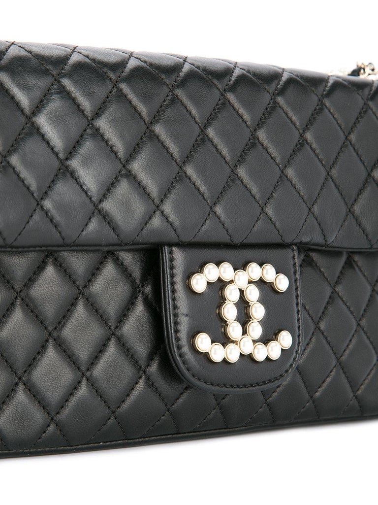 b9a70c62af4d Chanel Black Lambskin Diamond Stitch Pearl Medium Classic Westminster Flap  Bag In Good Condition For Sale
