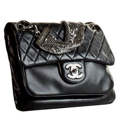 Chanel Classic Flap With Mesh Chain Black Lambskin Leather Shoulder Bag, 2009