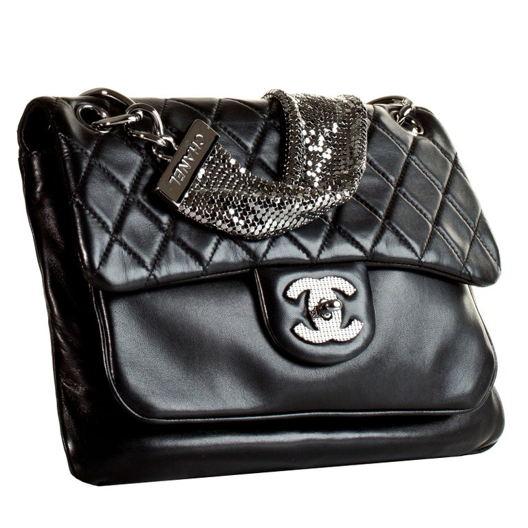25a1db2c23a71 Chanel Classic Flap With Mesh Chain Black Lambskin Leather Shoulder ...