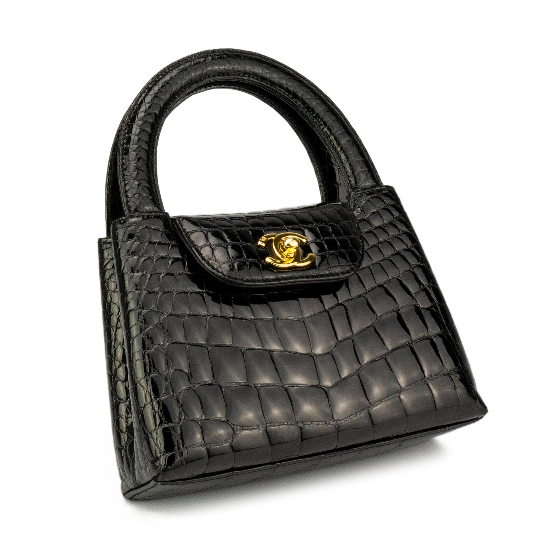ff100685e99e Chanel Black Crocodile Vintage Mini Teeny Tiny Kelly Clutch Alligator Tote  Bag at 1stdibs
